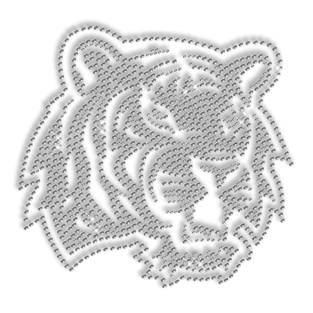 Iron on Crystal Tiger Motif Design for Clothes