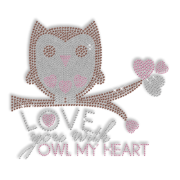 Cute Quote with Owl Rhinestone Iron on Pattern