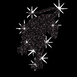 Hot Sparkle Glitter Black Panther Hotfix Design
