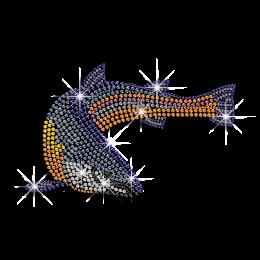 Shining Colorful Fish Rhinestone Hotfix Transfer Pattern