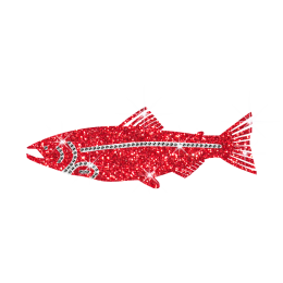 Lovely Pure Red Fish Glitter Hot Fix Pattern