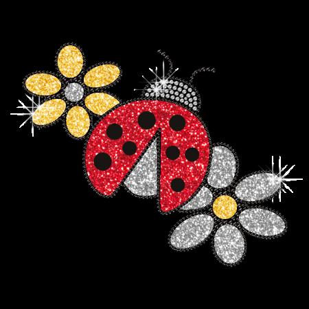 Personalized Bling Hotfix Design Ladybug and Flowers