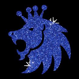Custom Glitter Iron ons Blue Lion King for Garments