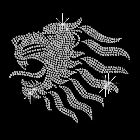 Twinkling Crystal Lion Head Diamante Iron on Pattern