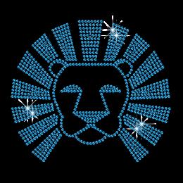 Shining Blue Lion Head Rhinestone Iron ons for Shirts