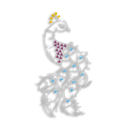 Elegant Peacock Rhinestone Nailhead Iron on Transfer Design
