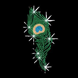 Pretty Peacock Feather Rhinestone Glitter Iron on Transfer Motif