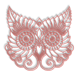 Cute Ruby Owl Hot-fix Iron-on Rhinestone Transfer