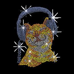 Cute Cat Listening to Music hotfix Rhinestud Rhinestone Transfer