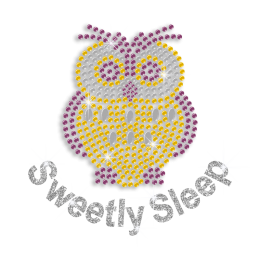 Custom Sweetly Sleep Cute Owl Hot-fix Rhinestone Transfer