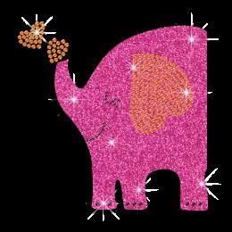 Glitter Elephant's Trunk Bubbling with Hearts Iron-on Rhinestone Transfers