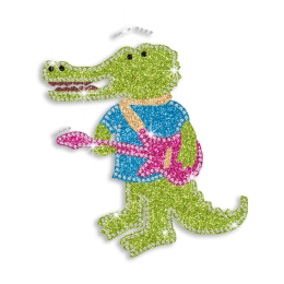 Colorful Crocodile Playing Guitar Iron on Glitter Rhinestone Transfer