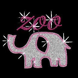 Glittering Elephant Zoo Iron-on Rhinestone Transfers