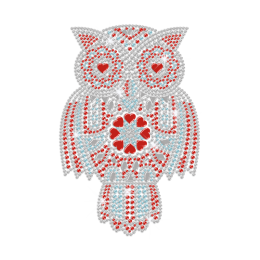 Great Owl with Gorgeous Feathers Iron-on Rhinestone Transfer