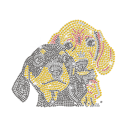 Two Cute Bling Puppy Iron on Rhinestone Transfer Decal