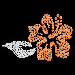 Rhinestone Crystal Orange Beach Flower Iron on Motif