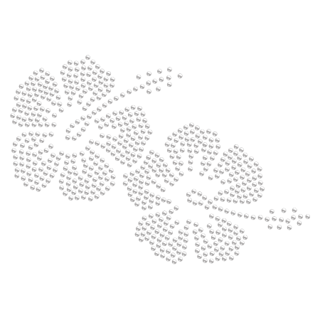 Iron on Crystal Beach Flower Rhinestone Pattern