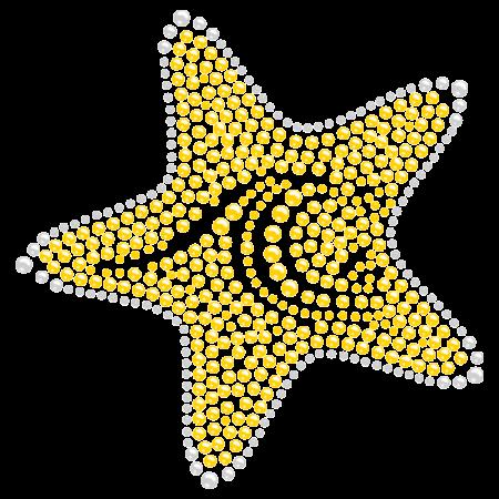 Rhinestone Bright Yellow Starfish Iron on Transfer