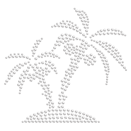 Crystal Iron on Beach Coco Tree Rhinestone Pattern