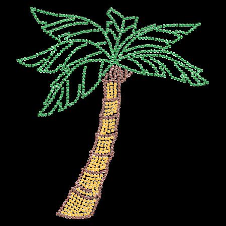 Coconut Tree on Beach Hot-fix Rhinestone Image