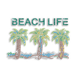 Relaxing Beach Life with Palm Trees Iron on Rhinestone Transfer