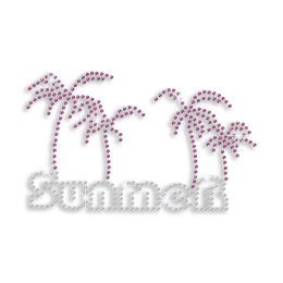 Summer Holiday Palm Tree Beach Time Iron on Rhinestone Transfer