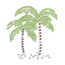 Relaxing Beach Time Palm Trees Sequin Iron on Transfer