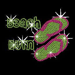 Gorgeous Beach Bum Slippers Hotfix Rhinestone Transfer