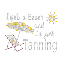 Shiny Tanning on Beach Heat Press Rhinestone Transfer