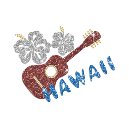 Fancy Music in Hawaii Iron-on Glitter Rhinestone Transfer