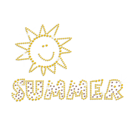 Bling Summer Sunshine Iron on Rhinestone Transfer Motif