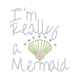 Cute Mermaid Beach Shell Hotfix Rhinestone Transfer