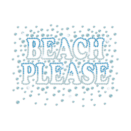 Sparkling Beach Please Iron-on Rhinestone Transfer