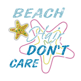 Cool Beach Starfish Iron-on Rhinestone Glitter Transfer