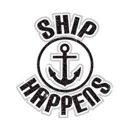 Glittering Ship Happiness Iron on Rhinestone Transfer