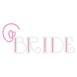 Bride with Pink Heart Rhinestone Iron on Design