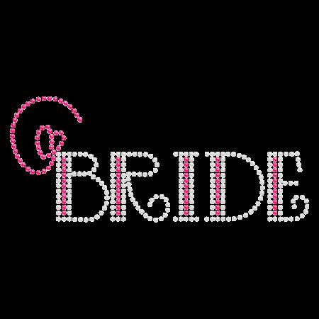 Bride with Pink Heart Rhinestone Iron on Design