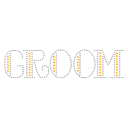 Rhinestone Crystal Yellow Groom Iron ons
