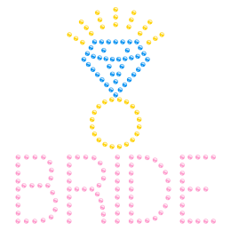 Bling Bride with Diamond over Hotfix Rhinestone Transfer