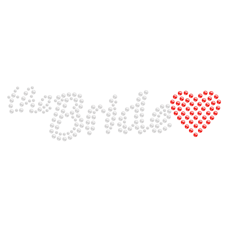 The Bride with Red Heart Iron on Rhinestone Image