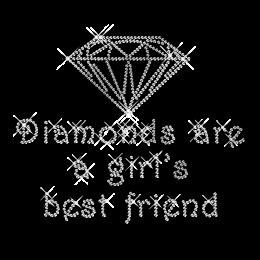 Diamond Motto Rhinestone T shirt Iron on Motif