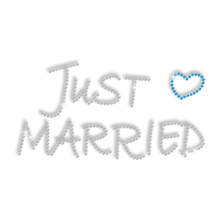 Personalized Rhinestone Iron ons Heart and Word of Just Married