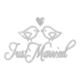 Pure Crystal Two Just Married Love Birds Rhinestone Transfer