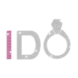 Custom I Do Ring Bridal Iron-on Rhinestone Transfer