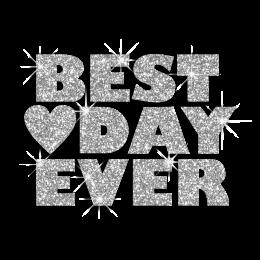 Bling Best Day Ever Heart Iron-on Glitter Transfer Design