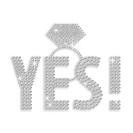 Crystal Say Yes Wedding Ring Iron-on Rhinestone Transfer