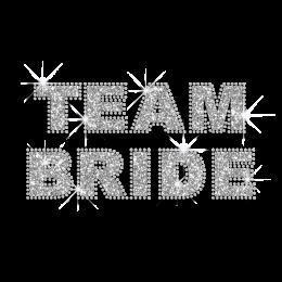 Shiny Team Bride Iron-on Rhinestone Glitter Transfer