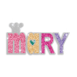 Colorful Mary Iron-on Glitter Rhinestone Transfer