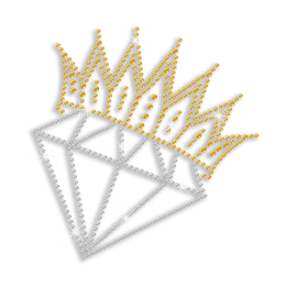 Crystal Diamond Crown Bridal Iron-on Rhinestone Transfer