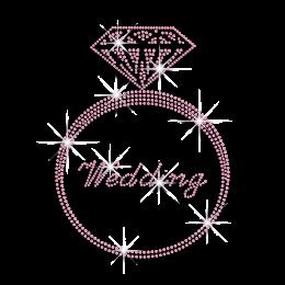 Pink Diamond Ring Bridal Iron-on Nailhead Transfer